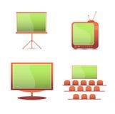 Vektorgesetzte Farbikonen. Fernsehüberwachungsgerät Lizenzfreies Stockfoto