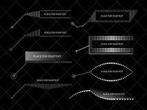 Vektorgestaltungselemente, Hinweise, Titel Bildet Schablonen Gegenstände auf einem lokalisierten Hintergrund lizenzfreie abbildung