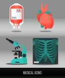 Vektorgesundheitswesen und medizinischer Ikonensatz Stockfotografie
