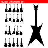 Vektorgitarren-Schattenbildset Stockbilder
