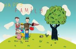 Vektorglückliche Familien-Zeichnung Lizenzfreie Stockfotografie