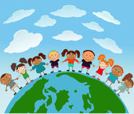 Vektorglückliche Kinder Lizenzfreies Stockfoto