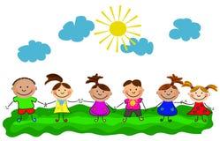 Vektorglückliche Kinder Stockbild