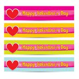 Vektorglückliches Valentinsgrußtagesfahnenset stock abbildung