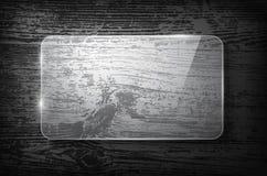 Vektorglasrahmen auf hölzernem Hintergrund der Weinlese stock abbildung