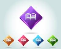 Vektorglatte eBook Ikone und mehrfarbig Stockbilder