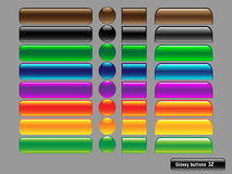 Vektorglatte Tasten für Web-Auslegung Stockfotografie