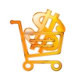 Vektorgolddollarsymbol stock abbildung