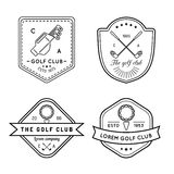 Vektorgolf-Logosatz Lineare Illustrationssammlung des Sportvereins für Ikonen, Ausweise und Aufkleber Lizenzfreies Stockfoto