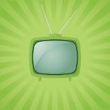 Vektorgrüner Retro- Fernsehapparat Lizenzfreie Abbildung