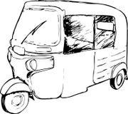 Vektorgraphik eines traditionellen Taxis in Indonesien bekannt als Bajaj Stockbild