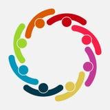 Vektorgraphik-Gruppenverbindungslogo Acht Leute im Kreis Logoteamarbeit vektor abbildung