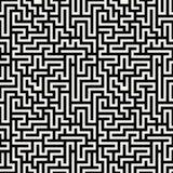Vektorgraphik-Zusammenfassungsgeometrie-Labyrinthmuster nahtloser geometrischer Schwarzweiss-Hintergrund Stockbilder