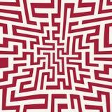 Vektorgraphik-Zusammenfassungsgeometrie-Labyrinthmuster roter nahtloser geometrischer Labyrinthhintergrund Lizenzfreie Stockfotografie