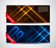 Vektorgraphik-Zusammenfassungsneonfahnen in den gelben und blauen Farben Lizenzfreies Stockbild