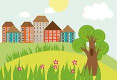 Kleine Stadt auf dem Hügel Stockbilder