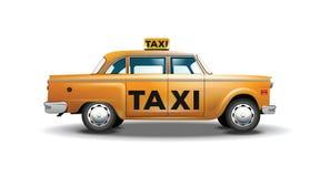 Vektorgraphikgelb, Retro- Taxi auf weißem Hintergrund mit schwarzem Taxizeichen Stockbild
