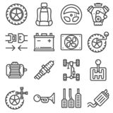 VektorGray Line Car Parts Icons uppsättning vektor illustrationer