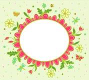 Vektorgrinsen-Grußkarte mit Frühlingsblumen Lizenzfreie Stockfotografie