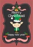 Vektorgrußkarte der frohen Weihnachten und des guten Rutsch ins Neue Jahr Lizenzfreie Stockbilder