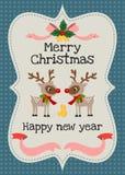 Vektorgrußkarte der frohen Weihnachten und des guten Rutsch ins Neue Jahr Stockbilder