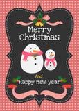 Vektorgrußkarte der frohen Weihnachten und des guten Rutsch ins Neue Jahr Lizenzfreies Stockbild