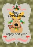 Vektorgrußkarte der frohen Weihnachten und des guten Rutsch ins Neue Jahr Stockfotos