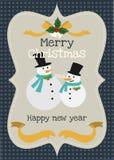 Vektorgrußkarte der frohen Weihnachten und des guten Rutsch ins Neue Jahr Stockbild