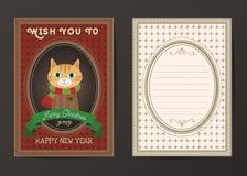 Vektorgrußkarte der frohen Weihnachten und des guten Rutsch ins Neue Jahr Lizenzfreie Stockfotografie