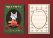 Vektorgrußkarte der frohen Weihnachten und des guten Rutsch ins Neue Jahr Lizenzfreie Stockfotos