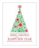 Vektorgrußkarte der frohen Weihnachten und des guten Rutsch ins Neue Jahr Lizenzfreie Abbildung