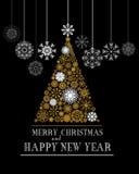 Vektorgrußkarte der frohen Weihnachten und des guten Rutsch ins Neue Jahr Vektor Abbildung