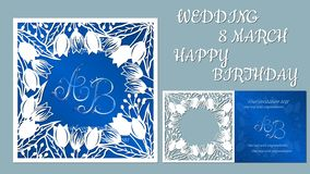 Vektorgrußkarte für Feiertage Mit dem Bild von Blumen, Tulpen Aufschrift-Hochzeit am 8. März alles Gute zum Geburtstag Schablone  lizenzfreie abbildung