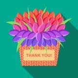 Vektorgrußkarte mit Platz für Text mit Korb von Blumen und Text danken Ihnen Stockbilder