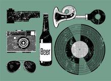Vektorgrungeuppsättning av retro saker för hipster Arkivbild