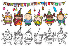 Vektorgrupp av barn på födelsedagpartiet Arkivfoton