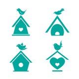 Vektorgrupp av fågelhus Arkivbilder