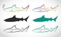 Vektorgrupp av hajen Royaltyfri Bild