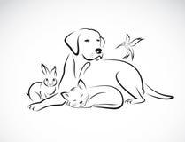 Vektorgrupp av husdjur - hund, katt, fågel, kanin, Arkivfoto