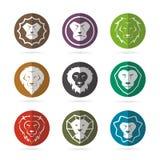 Vektorgrupp av lejonframsidan i cirkeln Royaltyfria Bilder
