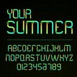 Vektorguß und -alphabet mit Zahlen Buchstaben mit Blättern Eco-Buchstaben Beschriftung für Sommer Alphabet im Stil der Natur und Stockfotografie