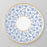 Vektorguld och blå dekorativ platta Fotografering för Bildbyråer