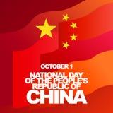 Vektorhälsningkort för den nationella dagen av People&en x27; s Republiken Kina, Oktober 1 Röd flagga och guld- stjärnor Royaltyfria Bilder
