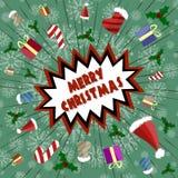 Vektorhälsningkort i retro stil Semestra explosionen av gyckel, gåvor, godisen, Santa Claus lock Arkivbild
