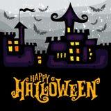 Vektorhälsningkort med den spöklika spökade allhelgonaaftonslotten vektor illustrationer