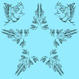 Vektorhälsningkort med fåglar och en stjärna med din text vektor illustrationer