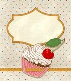 Vektorhälsningskort med en födelsedagcake vektor illustrationer
