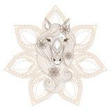 Vektorhäst Illustration på vit bakgrund Färga sidan med hästen vända mot på mandalabackgroun Royaltyfria Foton