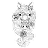 Vektorhäst Illustration på vit bakgrund Färga sidan med hästframsidan Hand dragen patterne Royaltyfria Bilder