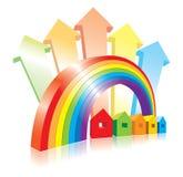 Vektorhäuser, -regenbogen und -pfeile Lizenzfreie Stockbilder